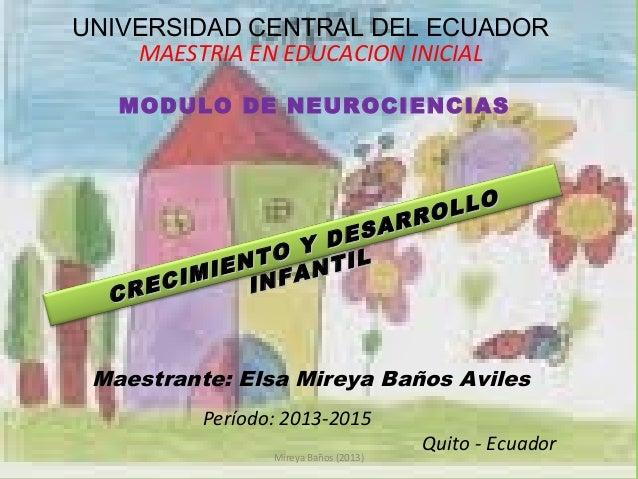 UNIVERSIDAD CENTRAL DEL ECUADOR MAESTRIA EN EDUCACION INICIAL MODULO DE NEUROCIENCIAS  SAR E Y D NTO NTIL IMIE INFA REC C ...