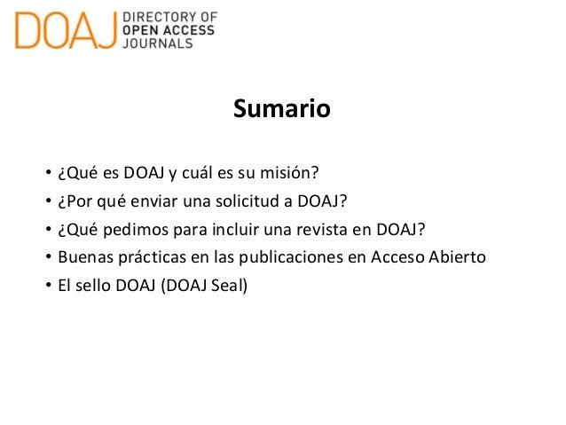 Publicar en acceso abierto: indexación en DOAJ y buenas prácticas Slide 2