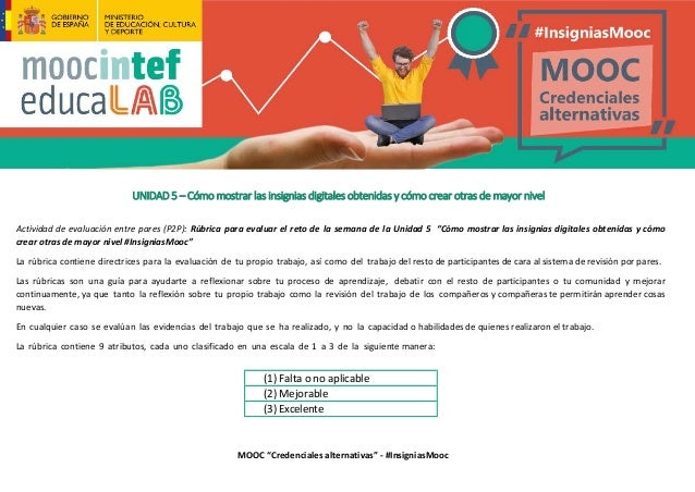 """MOOC """"Credenciales alternativas"""" - #InsigniasMooc UNIDAD 5 – Cómo mostrar las insignias digitales obtenidas y cómo crear o..."""