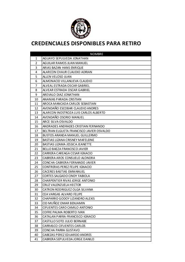 CREDENCIALES DISPONIBLES PARA RETIRO  NOMBRE  1 AGUAYO SEPULVEDA JONATHAN  2 AGUILAR RAMOS JUAN MANUEL  3 ARIAS BAZAN HANS...