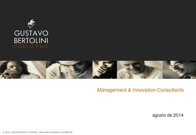 Management & Innovation Consultants agosto de 2014 (c) 2014 - Gustavo Bertolini Consulting - Información propietaria y con...