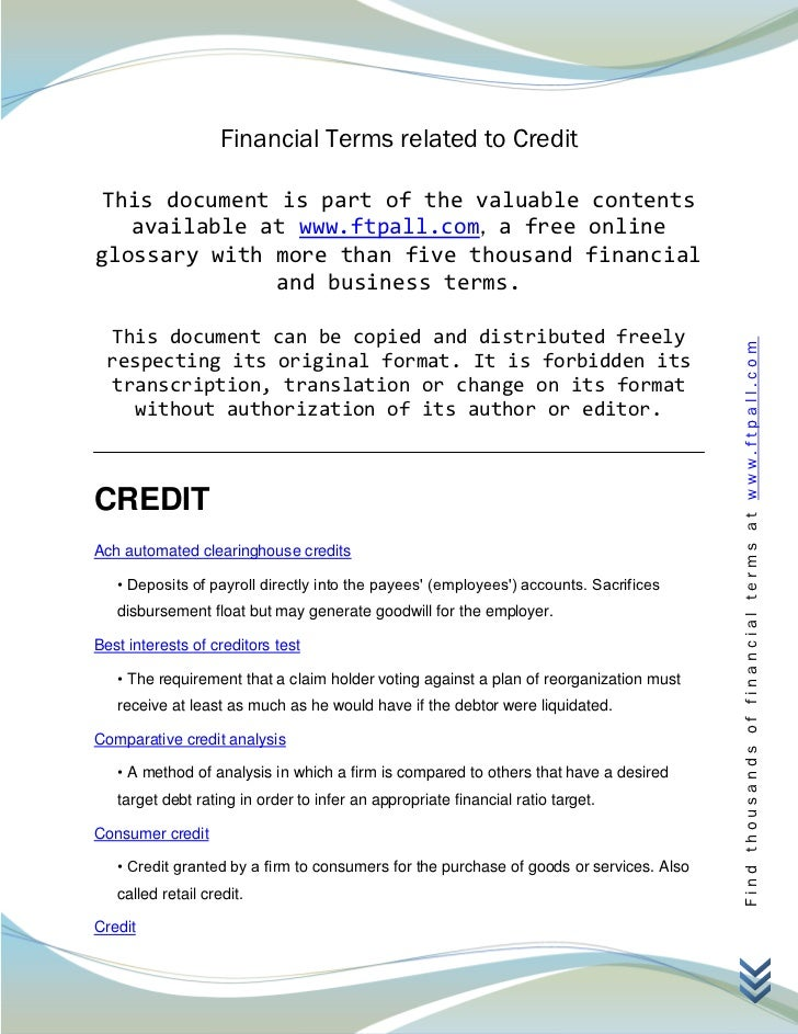 Financial Terms related to Credit This document is part of the valuable contents   available at www.ftpall.com, a free onl...