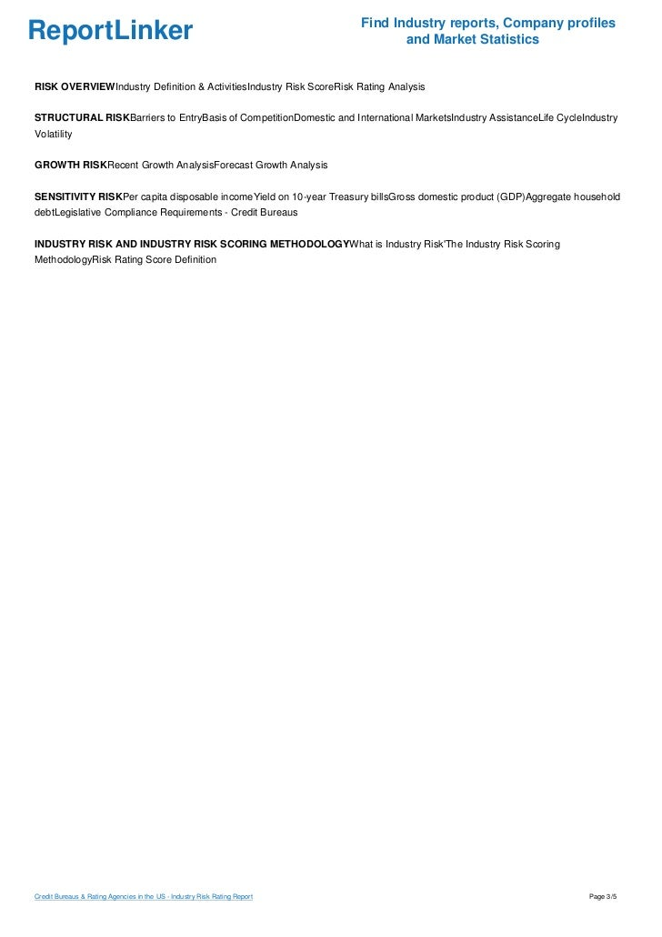 Credit Bureaus & Rating Agencies in the US - Industry Risk Rating Report Slide 3