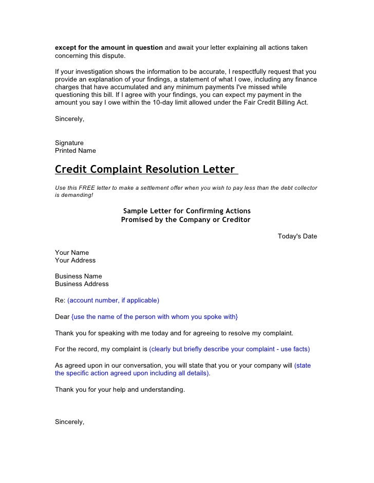 Credit And Debt Dispute Letters - Debt dispute letter template