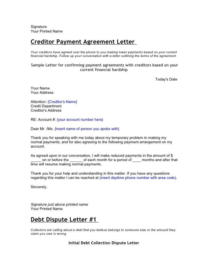 Letter To Creditors Unable To Pay Geccetackletartsco - Debt dispute letter template