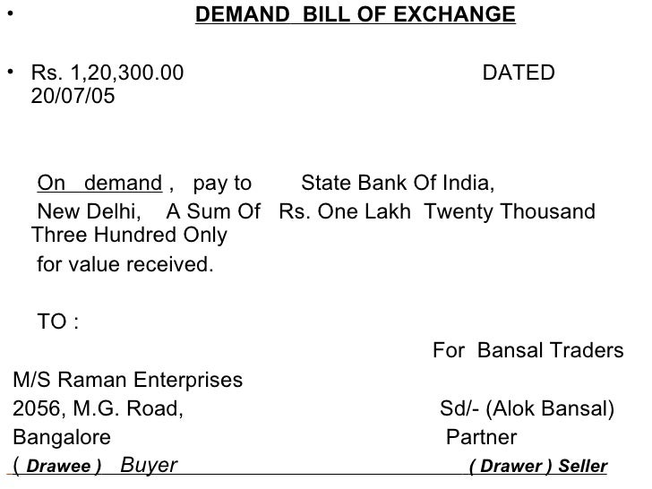 Credit Facilities Extended By Bank Iipm – Bill of Exchange Sample