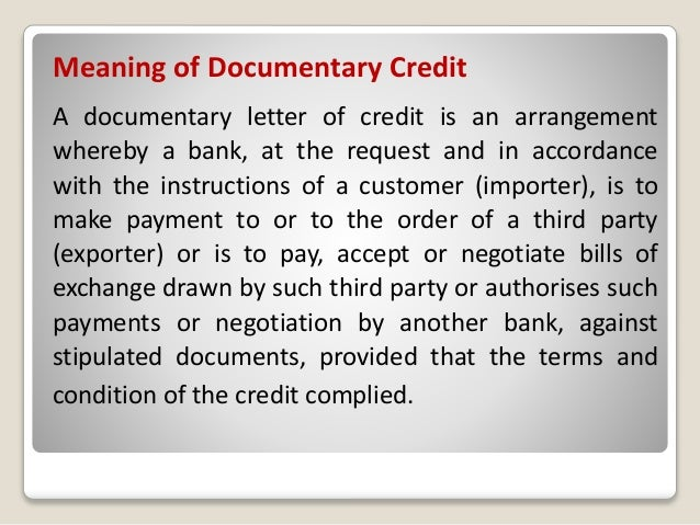 letter of credit documentary credit or letter of credit 1900
