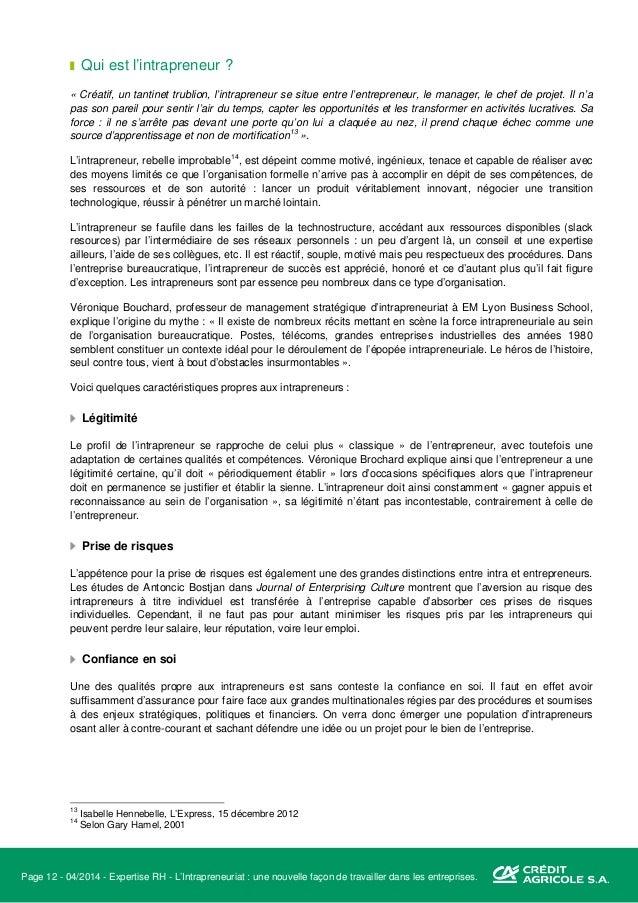 Page 13 - 04/2014 - Expertise RH - L'Intrapreneuriat : une nouvelle façon de travailler dans les entreprises. Réseau Cette...