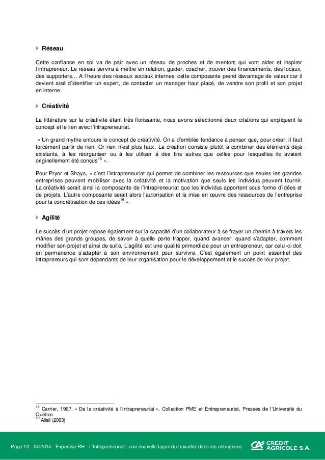 Page 14 - 04/2014 - Expertise RH - L'Intrapreneuriat : une nouvelle façon de travailler dans les entreprises. Quel est son...