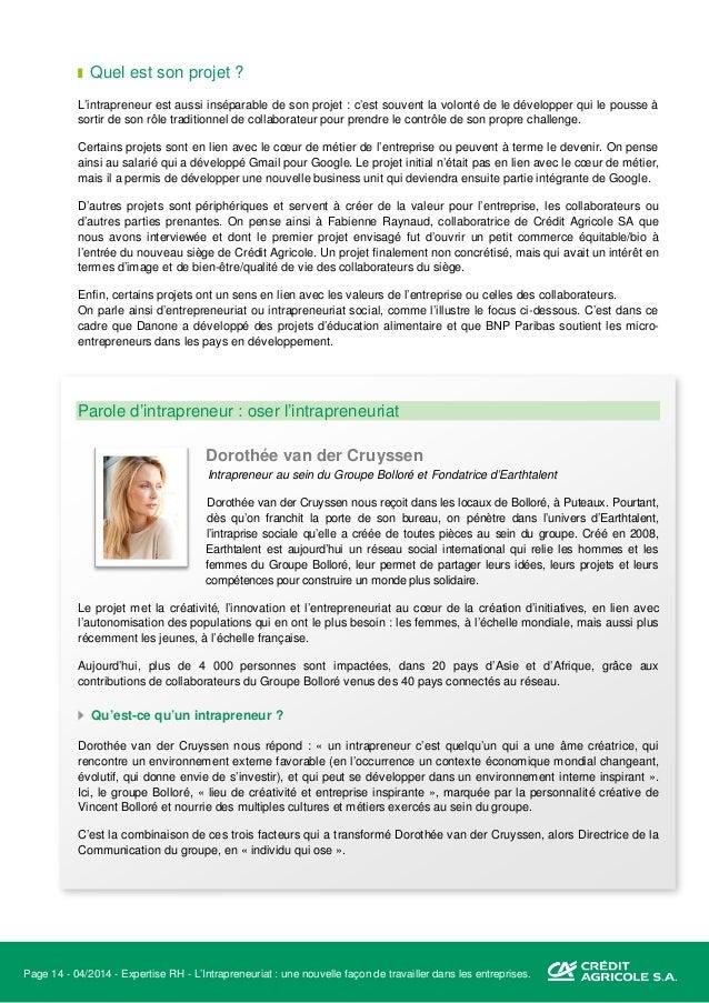Page 15 - 04/2014 - Expertise RH - L'Intrapreneuriat : une nouvelle façon de travailler dans les entreprises. Comment pass...