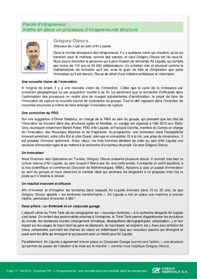 Page 18 - 04/2014 - Expertise RH - L'Intrapreneuriat : une nouvelle façon de travailler dans les entreprises. Les spécific...