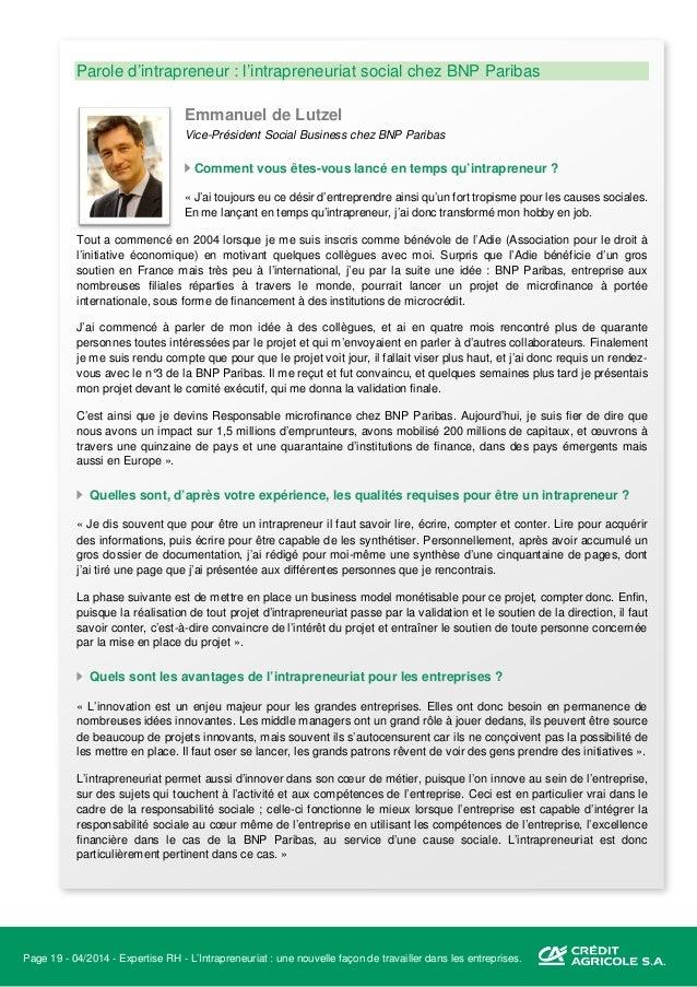 Page 20 - 04/2014 - Expertise RH - L'Intrapreneuriat : une nouvelle façon de travailler dans les entreprises. III. Intrapr...