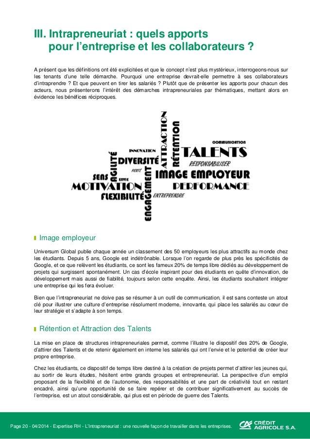 Page 21 - 04/2014 - Expertise RH - L'Intrapreneuriat : une nouvelle façon de travailler dans les entreprises. Flexibilité ...