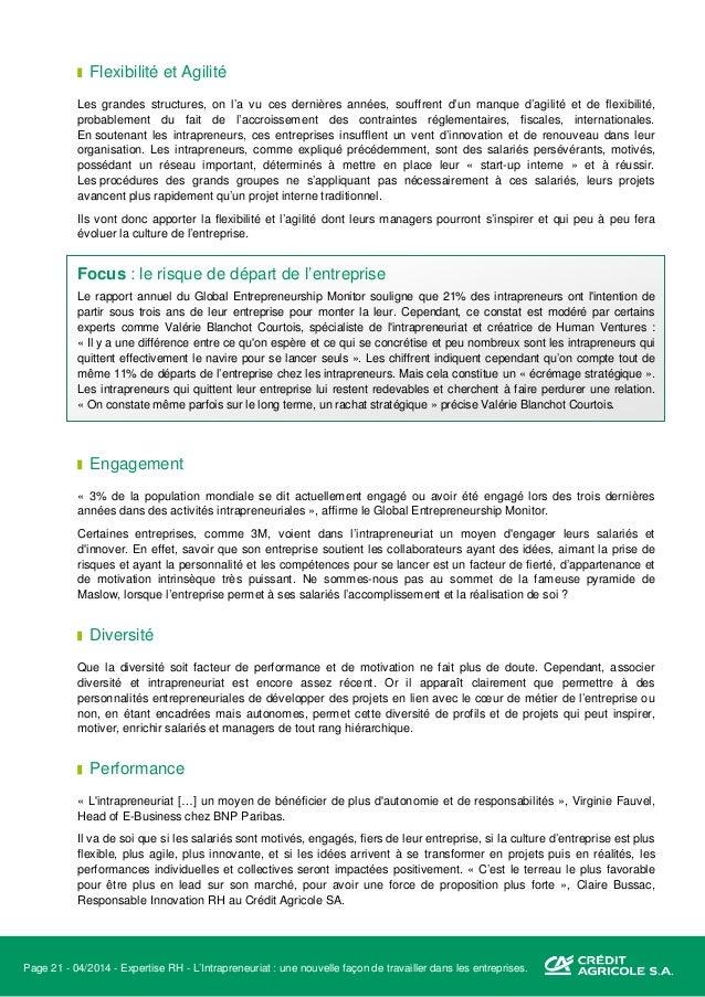 Page 22 - 04/2014 - Expertise RH - L'Intrapreneuriat : une nouvelle façon de travailler dans les entreprises. Focus : le r...
