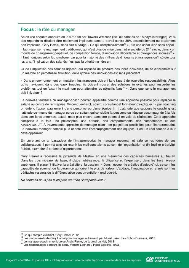 Page 23 - 04/2014 - Expertise RH - L'Intrapreneuriat : une nouvelle façon de travailler dans les entreprises. IV. Exemples...