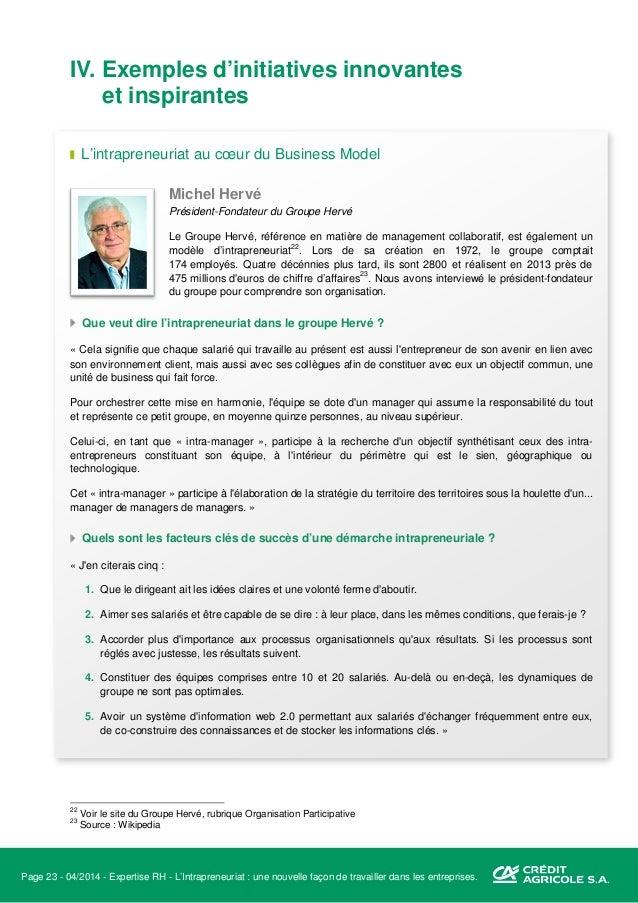 Page 24 - 04/2014 - Expertise RH - L'Intrapreneuriat : une nouvelle façon de travailler dans les entreprises. Quelles sont...