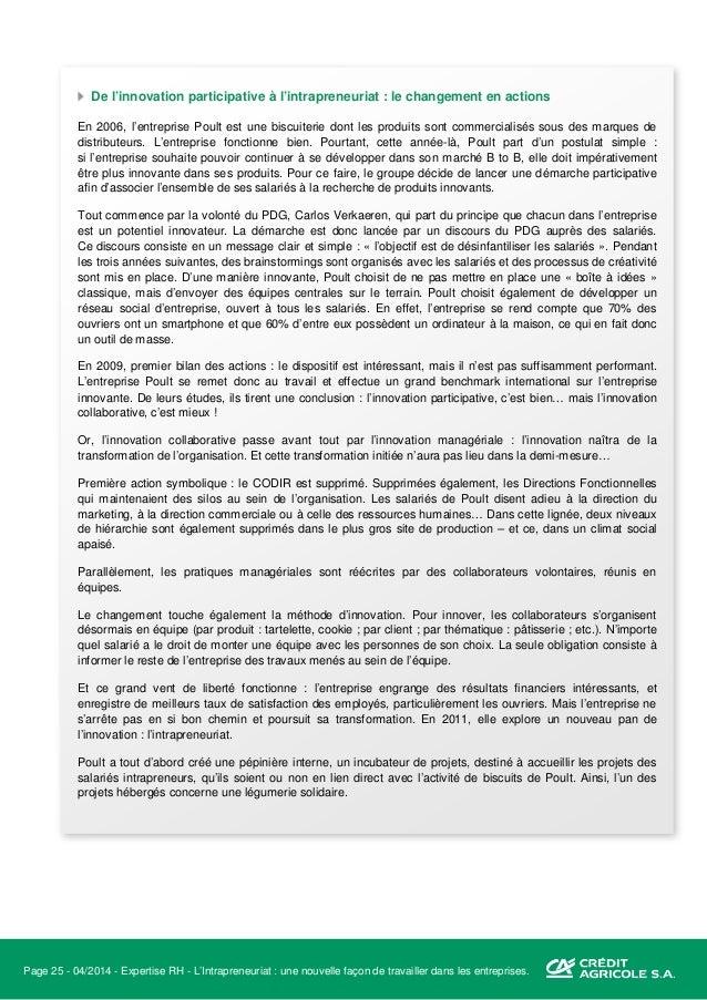 Page 26 - 04/2014 - Expertise RH - L'Intrapreneuriat : une nouvelle façon de travailler dans les entreprises. L'entreprise...