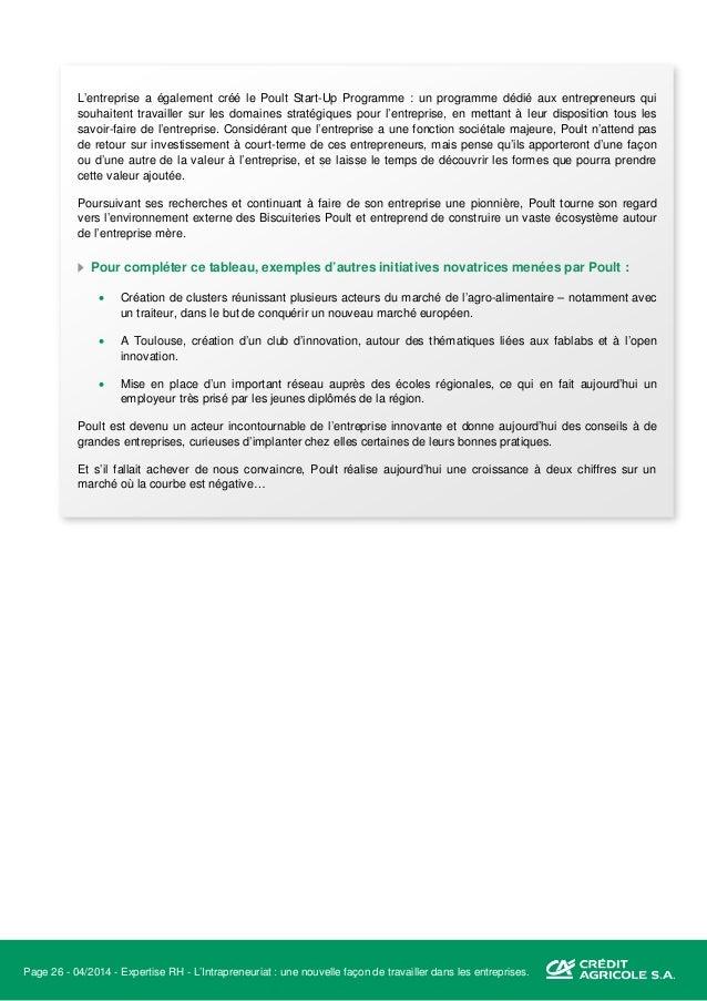 Page 27 - 04/2014 - Expertise RH - L'Intrapreneuriat : une nouvelle façon de travailler dans les entreprises. V. De la par...