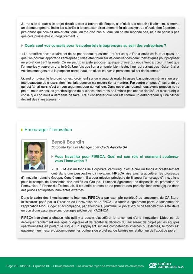 Page 29 - 04/2014 - Expertise RH - L'Intrapreneuriat : une nouvelle façon de travailler dans les entreprises. C'est en cel...