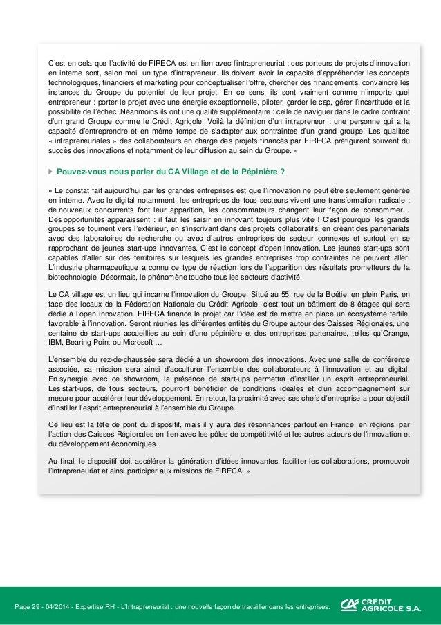 Page 30 - 04/2014 - Expertise RH - L'Intrapreneuriat : une nouvelle façon de travailler dans les entreprises. L'innovation...
