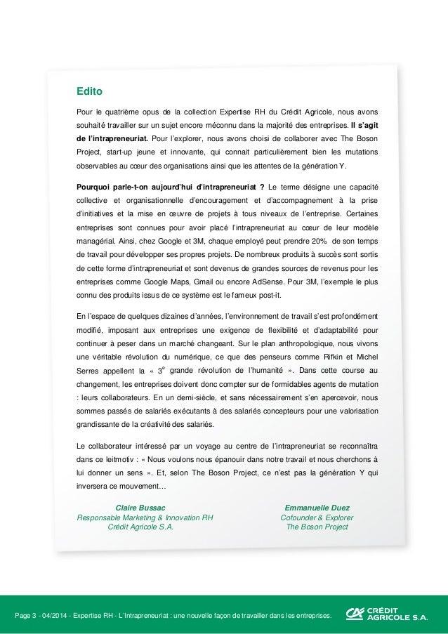 Page 4 - 04/2014 - Expertise RH - L'Intrapreneuriat : une nouvelle façon de travailler dans les entreprises. The Boson Pro...