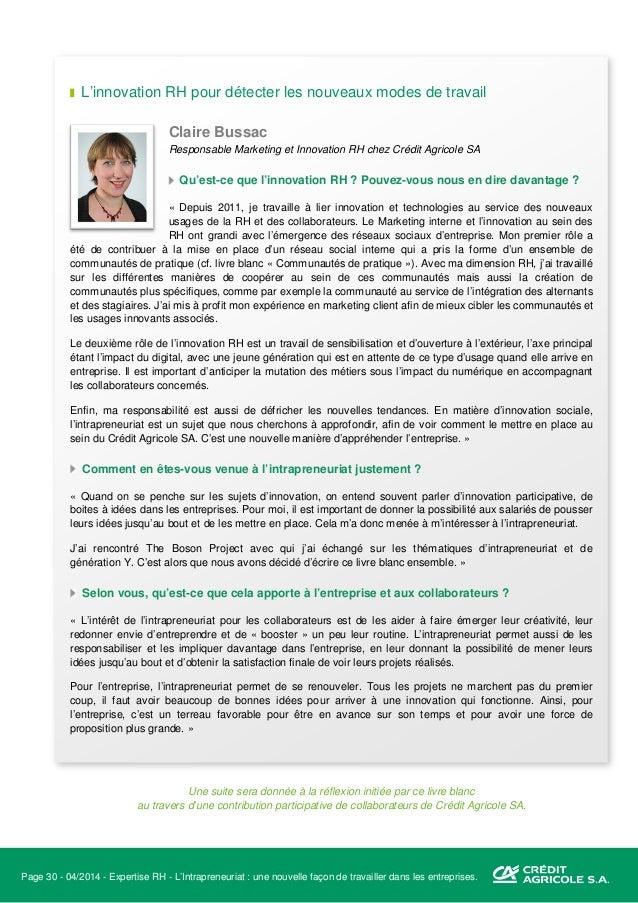 Page 31 - 04/2014 - Expertise RH - L'Intrapreneuriat : une nouvelle façon de travailler dans les entreprises. Sources et s...