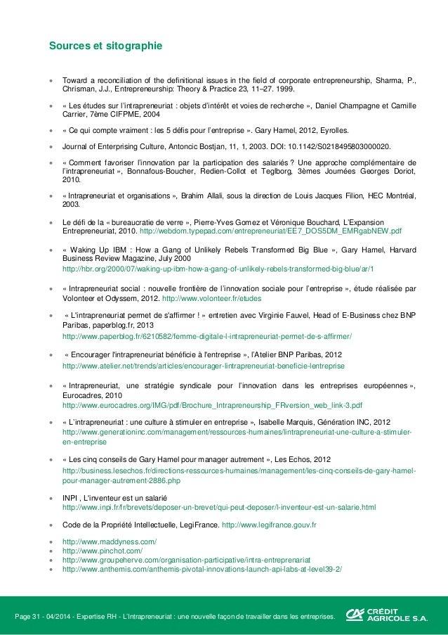 Page 32 - 04/2014 - Expertise RH - L'Intrapreneuriat : une nouvelle façon de travailler dans les entreprises. « Quand le c...