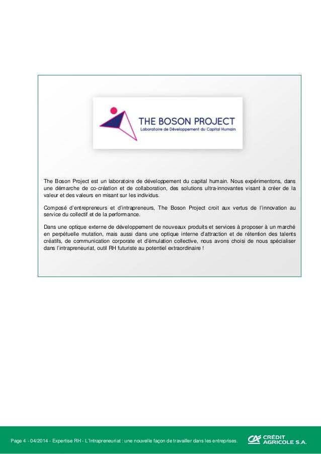 Page 5 - 04/2014 - Expertise RH - L'Intrapreneuriat : une nouvelle façon de travailler dans les entreprises. Préambule à l...