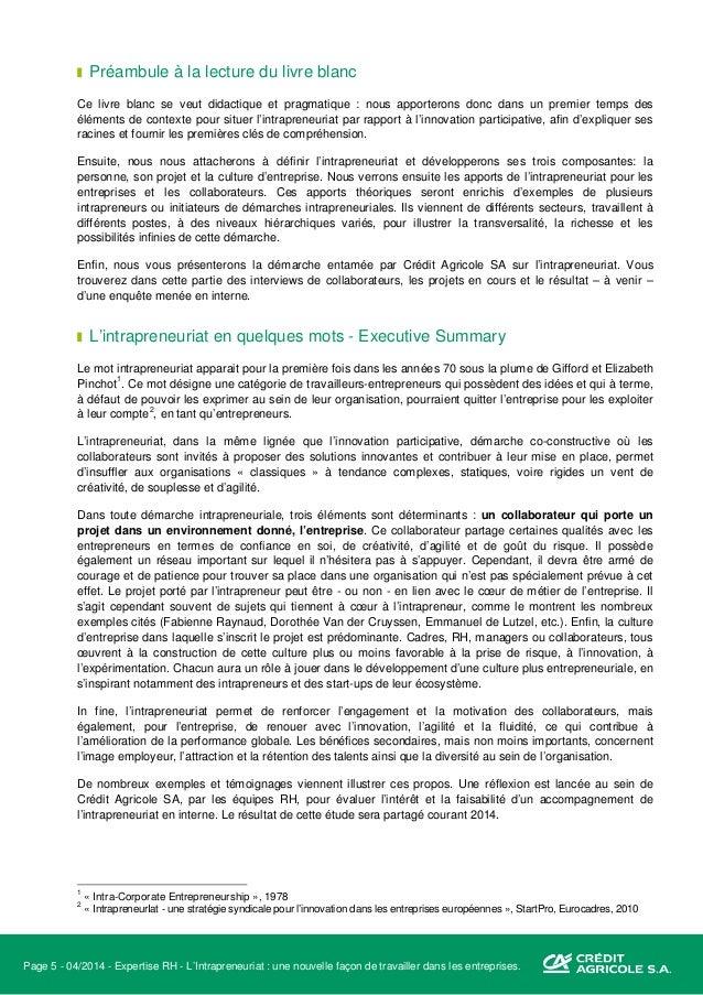 Page 6 - 04/2014 - Expertise RH - L'Intrapreneuriat : une nouvelle façon de travailler dans les entreprises. I. Retour aux...