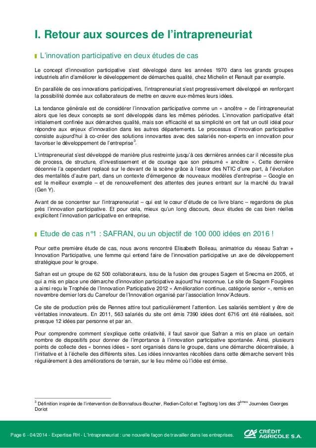 Page 7 - 04/2014 - Expertise RH - L'Intrapreneuriat : une nouvelle façon de travailler dans les entreprises. A Fougères, o...