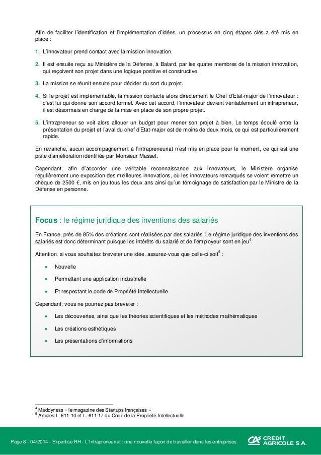 Page 9 - 04/2014 - Expertise RH - L'Intrapreneuriat : une nouvelle façon de travailler dans les entreprises. Le propriétai...
