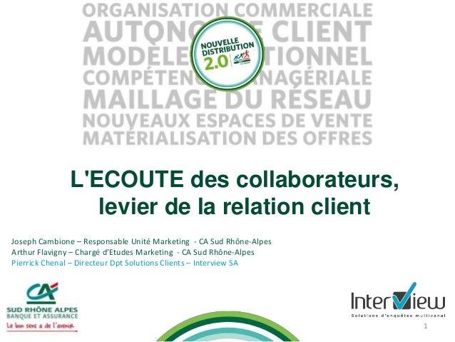 1 L'ECOUTE des collaborateurs, levier de la relation client Joseph Cambione – Responsable Unité Marketing - CA Sud Rhône-A...