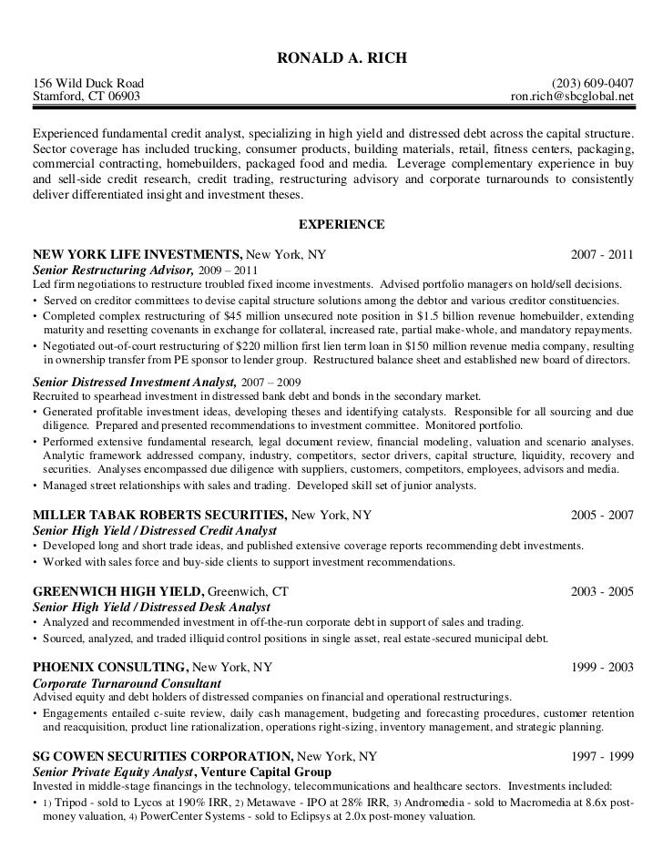 credit analyst high yield distressed debt - Junior Financial Analyst Resume