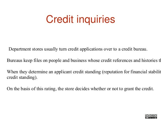 credit inquiries department