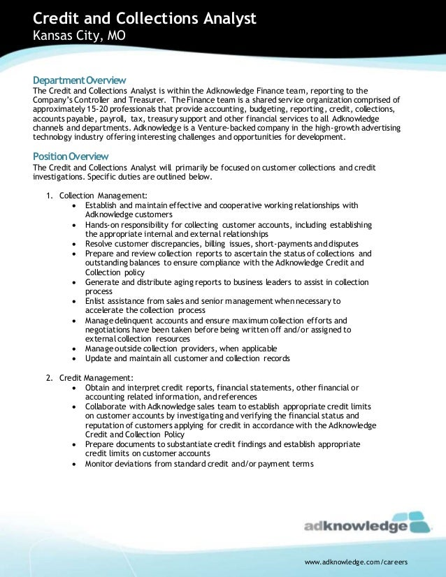 Credit   Collections Analyst Job Opportuniy