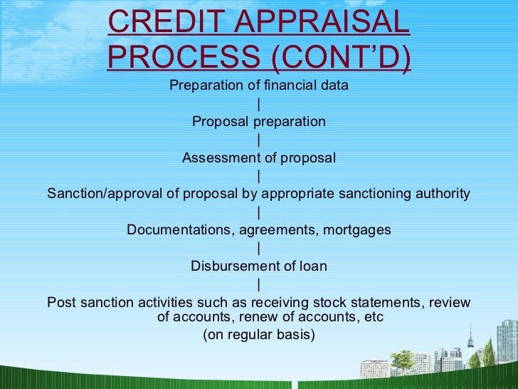 credit appraisal process Loan review and loan classification process loans should be classified on the basis of potential credit risk the factors that the credit grading system should.