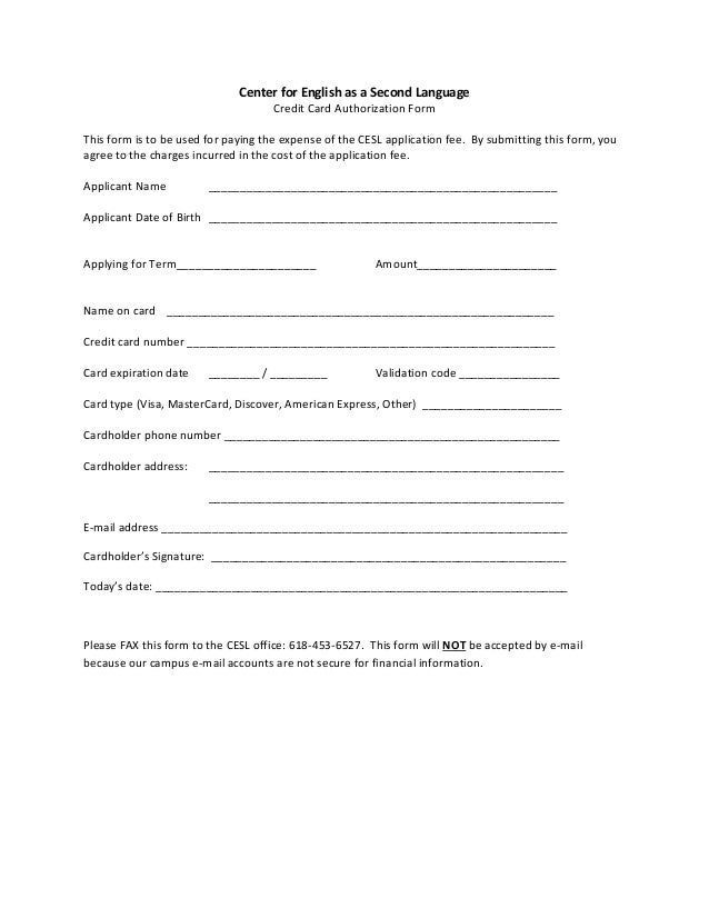 Perfect Center For English As A Second Language Credit Card Authorization Form This  Form Is To Be