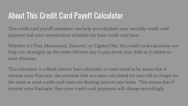 Credit Card Payoff Calculator  Calculate Your Credit Card Payments