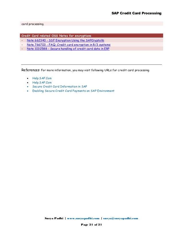 Credit card Processing in sap Manual