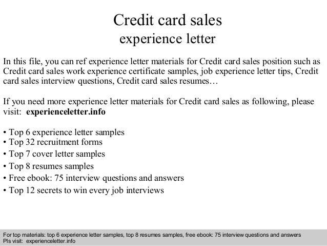credit card sales resume sample