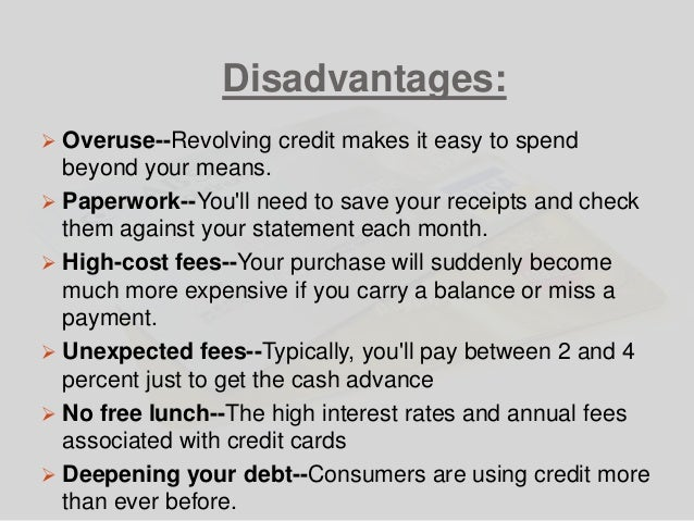 Credit cards advantages and disadvantages disadvantages overuse revolving credit reheart Image collections