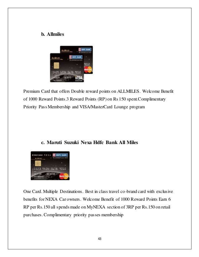 Credit card special preference to hdfc bank