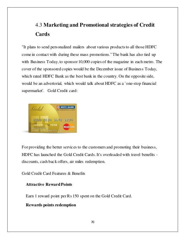 Credit card special preference to hdfc bank 70 70 43 marketing and promotional strategies of credit cards reheart Images