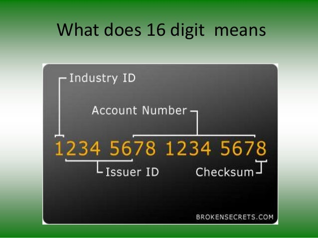 What does 16 digit means