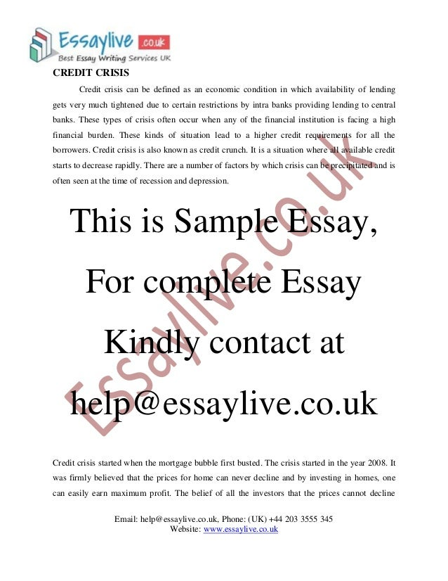 Cover page to essay