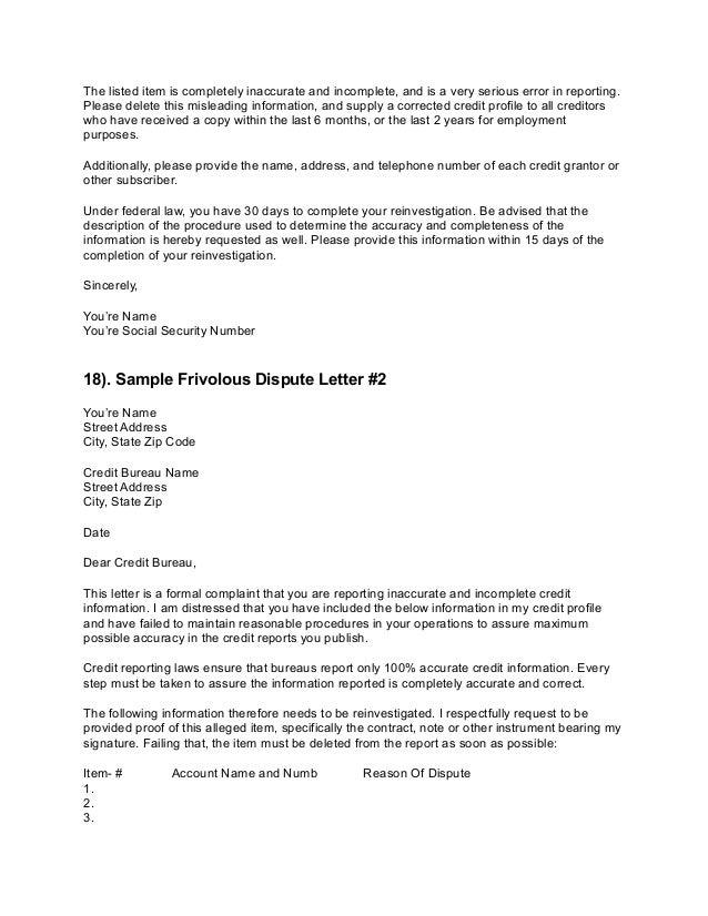 Credit dispute letters 15 spiritdancerdesigns Gallery