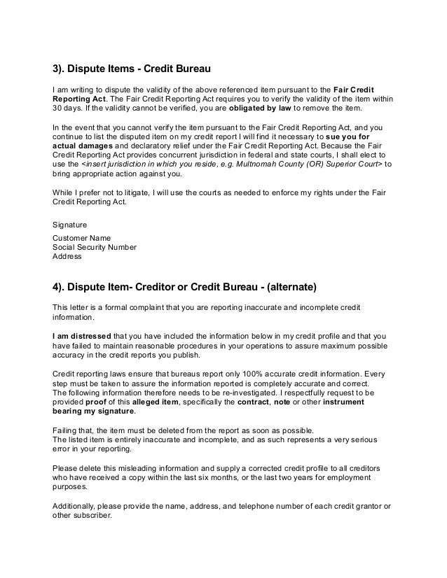 credit report credit report explanation letter. 3 ...