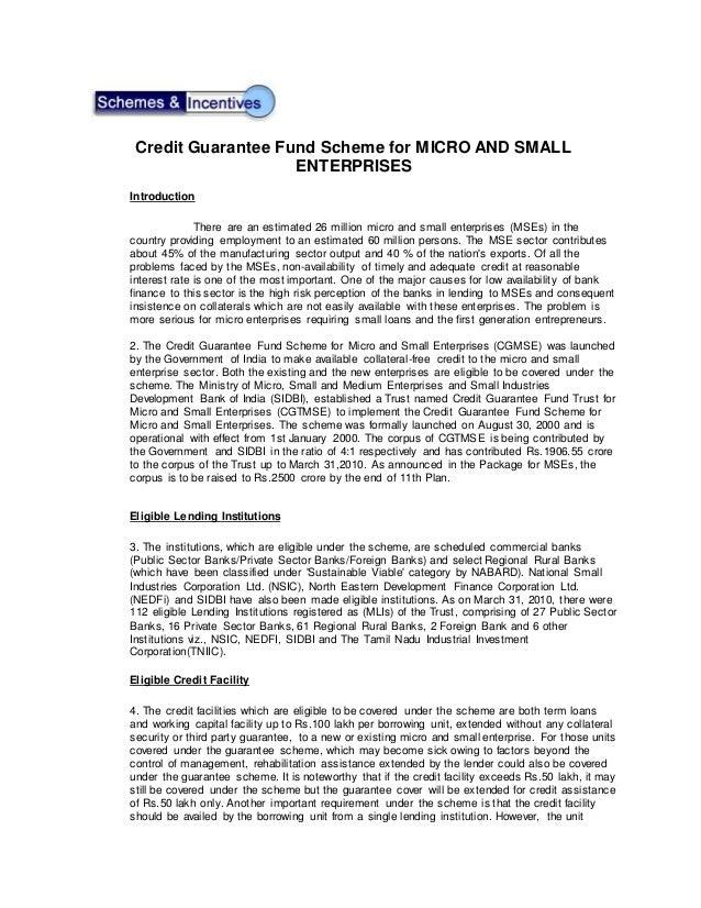 Credit guarantee fund trust for small & medium enterprises.