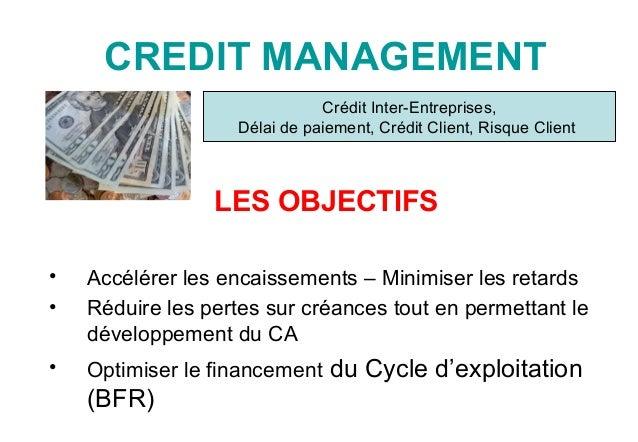 CREDIT MANAGEMENT LES OBJECTIFS • Accélérer les encaissements – Minimiser les retards • Réduire les pertes sur créances to...
