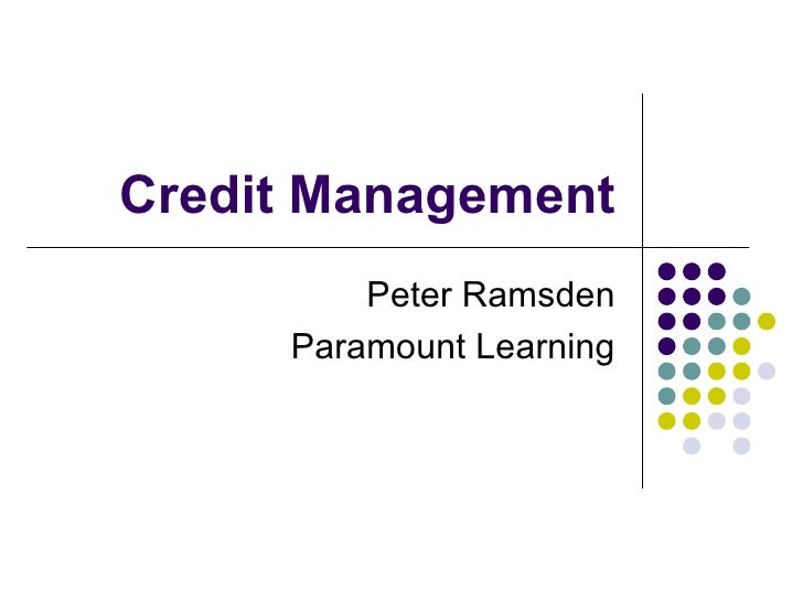 Credit Management         Peter Ramsden     Paramount Learning